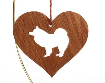 Samoyed Ornament, Heart Shaped Bjelkier Decoration, Samoyed Christmas Ornament, Dog Breed Decoration, Pet Memorial, Oak