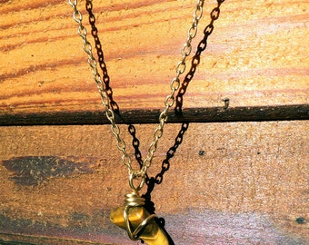 Tigers eye triangular pendant with gold wire, with or without gold necklace