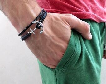 Men's bracelet, still rope bracelet, nautical bracelet, leather bracelet, black anchor bracelet, gift for him,