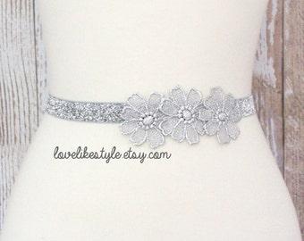 Silver Flower Lace on Skinny Silver Glitter Elastic Belt, Bridal Silver Belt , Bridesmaid Silver Belt, Sash Belt