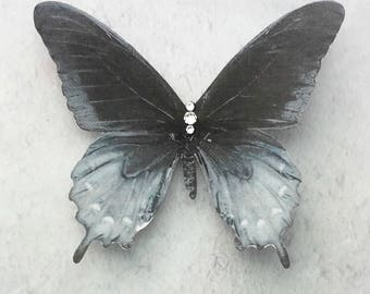Silk Butterfly Hair Clip 'Storm Clouds'  Black and Grey with Swarovski Crystals