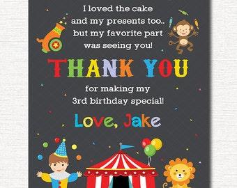 Circus Thank you card, Circus  Thank you note, Circus  Birthday, Circus  party, printable