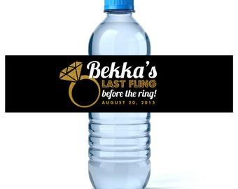 Bachelorette Party Water Bottle Label - Wedding Water Label - Hen Party - Last Fling - Bachelorette Favors