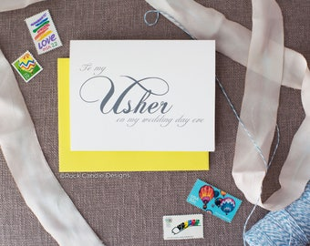 To My Usher On My Wedding Day Eve Card   Night Before Wedding   Day Before Wedding   Bridal Party   How to Ask Someone to be a Wedding Usher