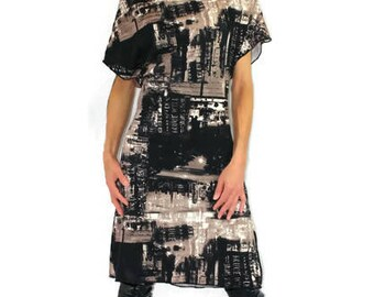 Dress, modern, fabric, printed, the city, pleated on the neckline, short sleeves.