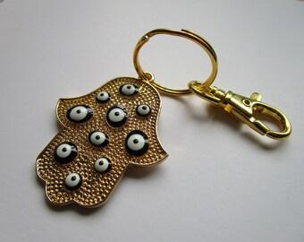 Gold tone black evil eye hamsa charm key chain - black evil eye key chain - hamsa purse charm - black evil eye key chain - hamsa key chain