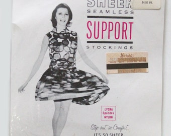 Vintage 60s Lycra Sheer Seamless Support Stockings Nylons Size C 10.5 - 11 Beigetone
