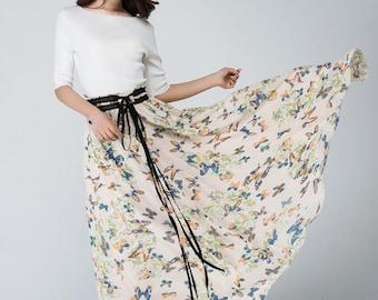 Chiffon skirt, Maxi chiffon skirt, summer long skirt, womens skirts, long skirt, custom maxi skirt, chiffon maxi skirt, butterfly print 1569