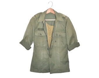 Vintage Army Shirt Jacket Military Shirt 1950s Utility Shirt Army Fatigue Shirt Army Air Corp