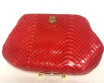 Red Snakeskin Clutch! FREE shipping