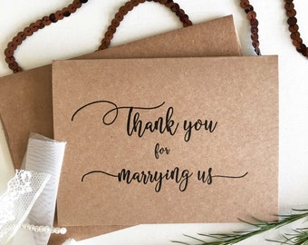 Wedding Officiant Gift - Officiant Card - Thank You For Marrying Us Card - Celebrants Gift - Celebrants Card - Wedding Officiant - Rustic