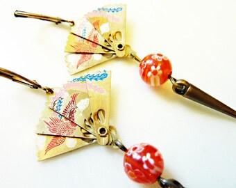 Phoenix Fan Earrings, Asian Vintage Enamel on Brass, Czech Glass Beads, Brass Spike Dangles