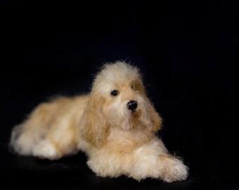 Dollhouse Miniature Doodle Dog Golden Doodle Goldendoodle Artist Sculpted Furred OOAK Dog 1:12 Scale