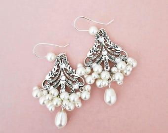 Downton Abbey Chandelier Bridal Earrings Statement Art Deco Wedding Jewelry Bohemian Boho Bride Laurel Leaf Swarovski Pearl Sterling Silver