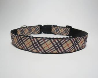 "Handmade Dog Collar 1"" Wide - Brown/Black Tartan Pattern"