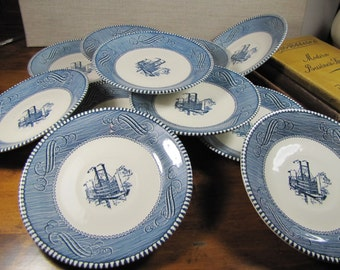 Vintage Currier and Ives - Blue and White Riverboat - Steemboat Saucers - Set of Eleven (11)