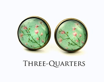 FEELING LIKE ALICE _ Studs with cherry blossoms in pink and turquoise