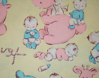40's 50's Baby wrapping paper vintage shower gift wrap Bunny, Elephant, Puppy, Giraffe, Bear