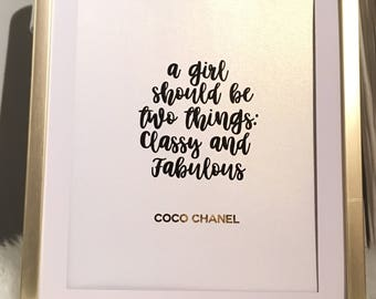 Various Coco Chanel Quotes Foil Print