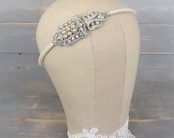 Vintage Art Deco Headband, Bridal Headband, 1920's Headband, Pearl Headband, Wedding, Headpiece, Rhinestone Headband, Diamante, Paste, Side