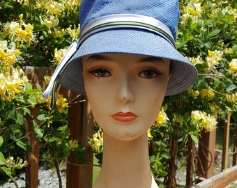 1940's Cloche Bucket Hat With Satin Ribbon Blue Fabric With Blue, Green and Pink Stitching