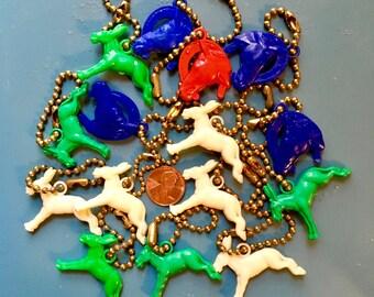 Vintage 1940's 1950's Western Plastic Bakelite Charms Keychains Gumball CrackerJack Prizes Donkey Luck Horse Horseshoe Equestrian 10pcs.