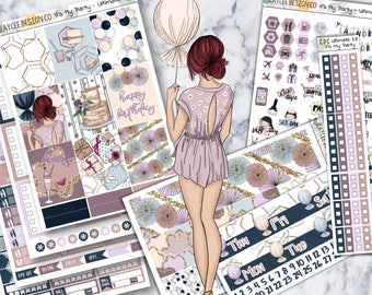 ULTIMATE Weekly Kit / It's My Party / Planner Stickers / Fits Erin Condren Vertical & MAMBI / Hand Drawn / Watercolor