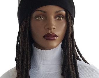 Xtra groß Kunstleder großen Haar großen Kopf voller Krone Mütze Schwarz Satin gefüttert Kappe