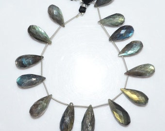 "Natural Labradorite Tear Drop Briolette - Labradorite Faceted Beads , Labradorite Briolette , 10x20 - 10x25 mm , 8.5"" - BL1450"