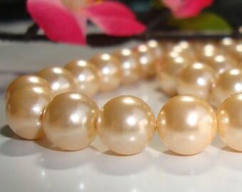 16 Inch Strand, 8mm, 50 Elegant Shampagne  South Sea Shell Round Pearl