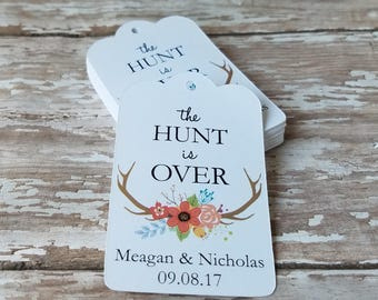 The Hunt is Over Wedding Tag, Spring Wedding, Hunting Themed Wedding, Hunter Wedding, Monogram Wedding Tag, Engagement Party (231)