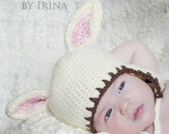 Lamb or Sheep Hat for Baby 0 to 6 Months