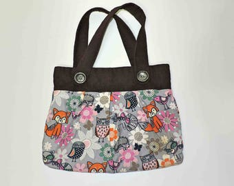 Corderoy Animal Purse Hand Bag Fashion Accessory With Vintage Buttons