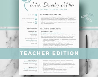 Teacher Resume Template for Word & Pages; Elementary Teacher CV Template, Educator Resume, CV, Teaching Resume, Creative Teacher CV + tips
