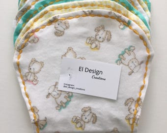Baby Burp Cloth set of Three, Mint and Yellow Burp Cloth Set, Ready to Ship!