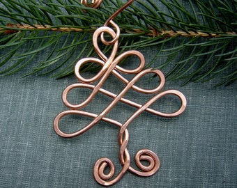 Celtic Tree Ornament, Copper Ornament, Christmas Tree Ornament, Celtic Ornament Handmade Gift Tree of Life Holiday Decoration, Home Decor