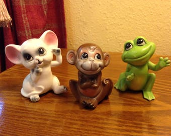 """Vintage """"Norcrest"""" Animal (Mouse, Monkey, and Frog) Figurines from Japan - A644"""