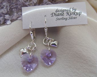 Heart to Heart Swarovski Violet and Sterling Silver Earrings Presented On Sterling Silver Lever Back Findings