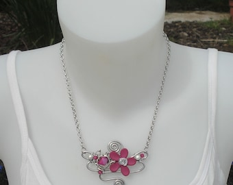 Necklace - necklace orchid pink and plum