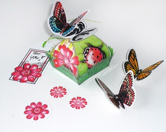 Lady bug butterfly favor box, DIY printable vintage, give-away, spring easter packaging, red, green, grass, 2.pdf sheets, digital templates