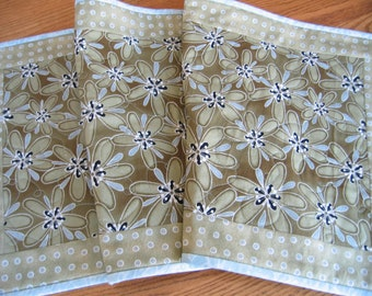 NEW - Quilted Table Runner in a Large Green Flower Pattern