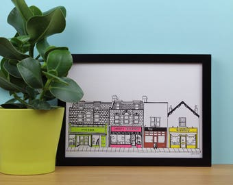 High street screenprint, Row of Shops, Gloucester Road Inspired, Bristol, Architecture, UK, Travel, A4 Screenprint, Home Decor, Wall Art