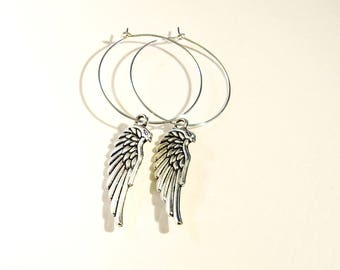 Angel Wing Earrings Silver Gothic