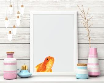 Wallart | Gold fish | Print Wall | Art Decor| Daily Motivation| Poster | Printable| Quote