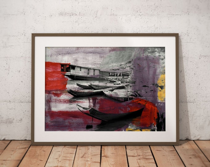 Waterworld III by Sven Pfrommer - Artwork is ready to hang with a solid wooden frame