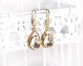 Crystal bridal earrings Gold earrings Crystal earrings Wedding earrings White earring Bridal jewelry Teardrop earring Bridesmaid earring 879