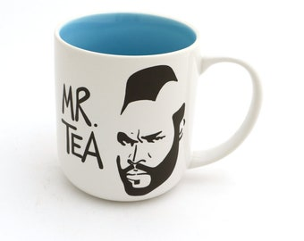 Mr. Tea mug, Mr. T tea cup, The original Mr. Tea mug by lenny mud, light blue interior, stoneware, gift for tea drinker, funny mug