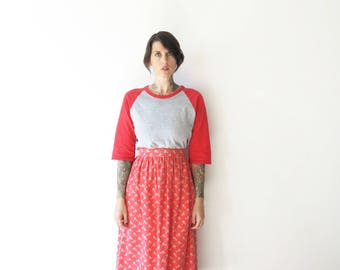 70s vintage sweet red floral fade high skirt in the prettiest shape//xs small