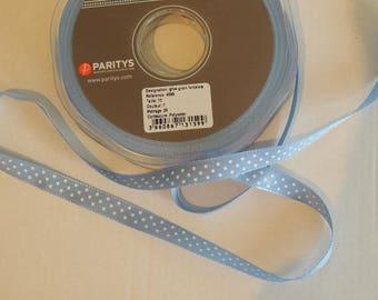 Ribbon grosgrain blue fancy clear with white polka dots