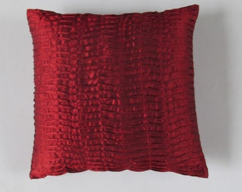 deep red pillow. Marron  pleated pillow.  Decorative pintuck cushion cover. Luxury pillow wedding decor  Festive pillow.  Custom made.
